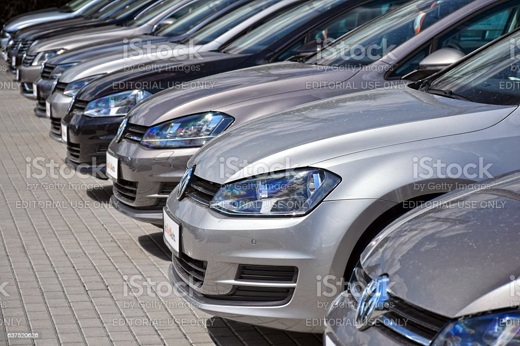 Volkswagen cars on the parking stock photo