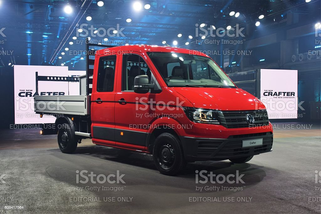 Volkswagen Crafter on the premiere stock photo