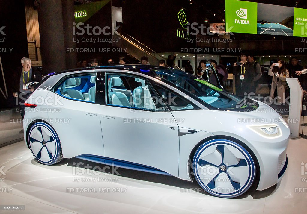 Volkswagen Electric Concept Car at CES 2017 stock photo