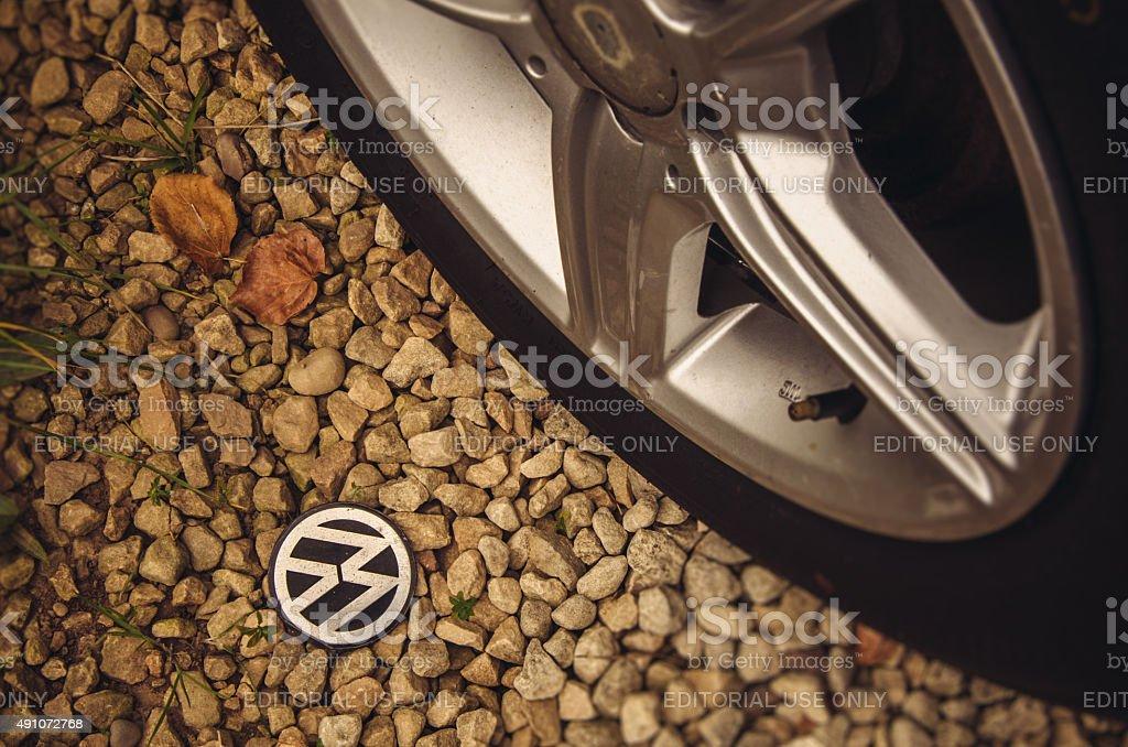 Volkswagen - Fallen Emblem stock photo