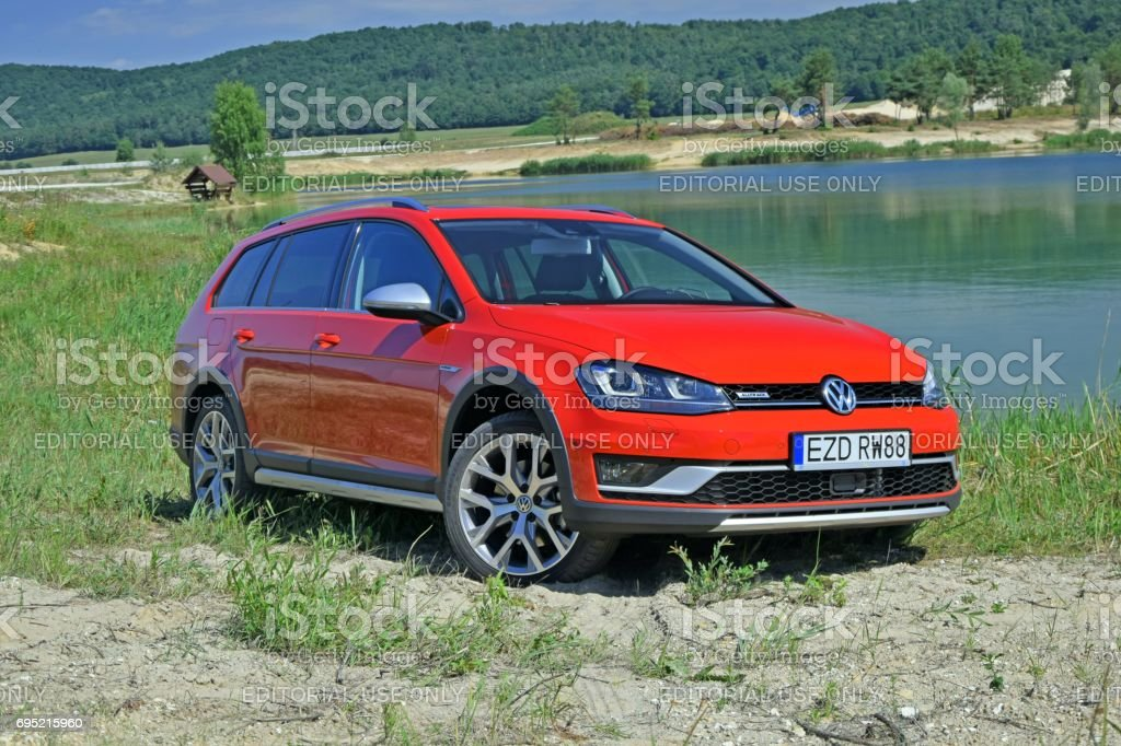 Volkswagen Golf Alltrack on the unmade road stock photo