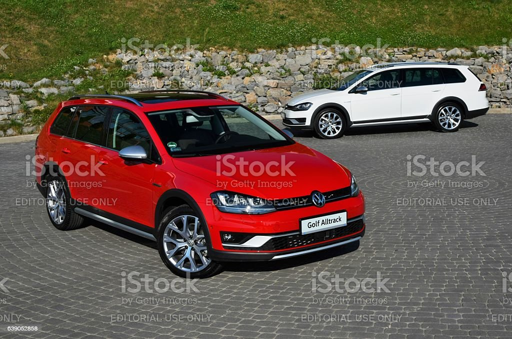 Volkswagen Golf Alltrack vehicles on the parking stock photo
