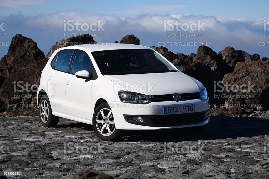 Volkswagen Polo stopped on the road stock photo