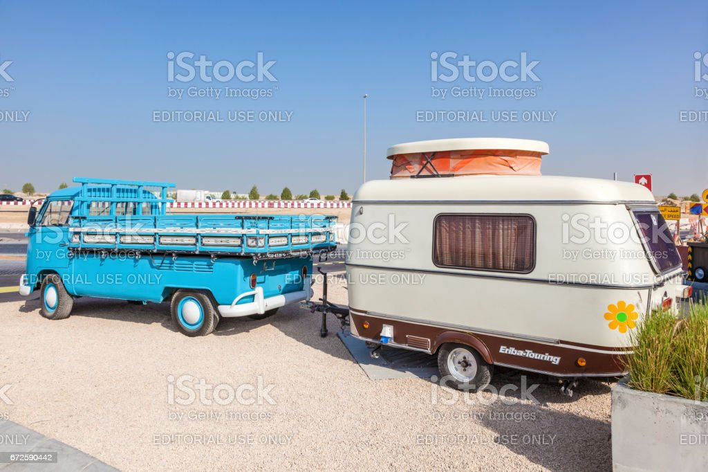Volkswagen T1 with Eriba-Touring caravan stock photo