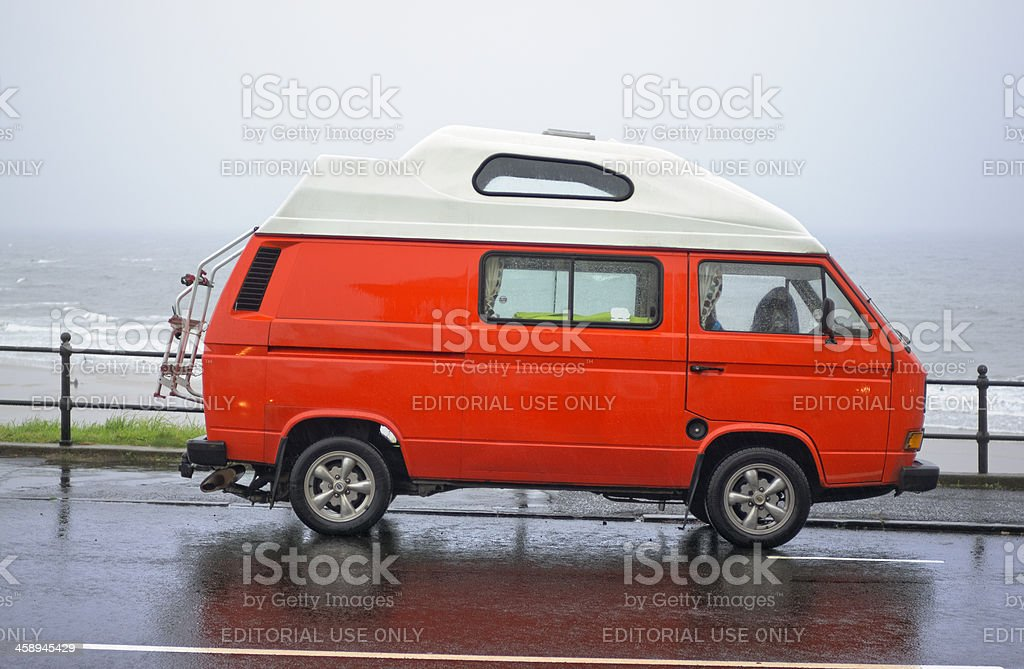 Volkswagen T3 Caravelle at the seafront stock photo