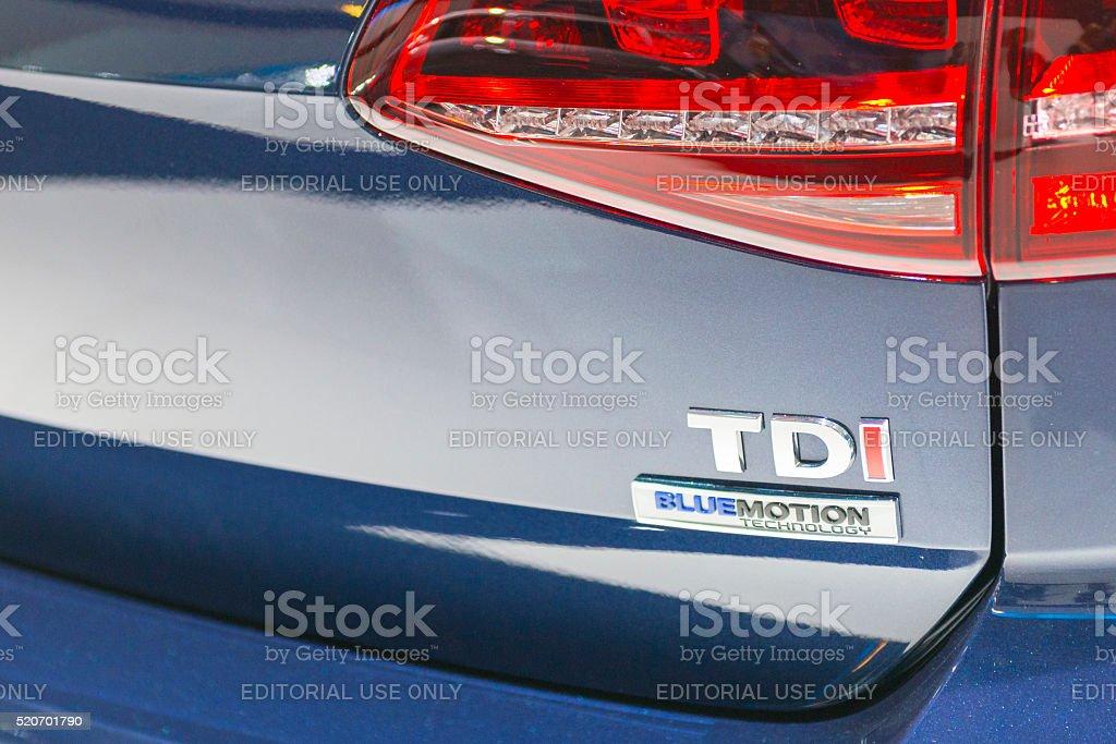Volkswagen TDi Bluemotion badge on a Volkswagen Golf stock photo