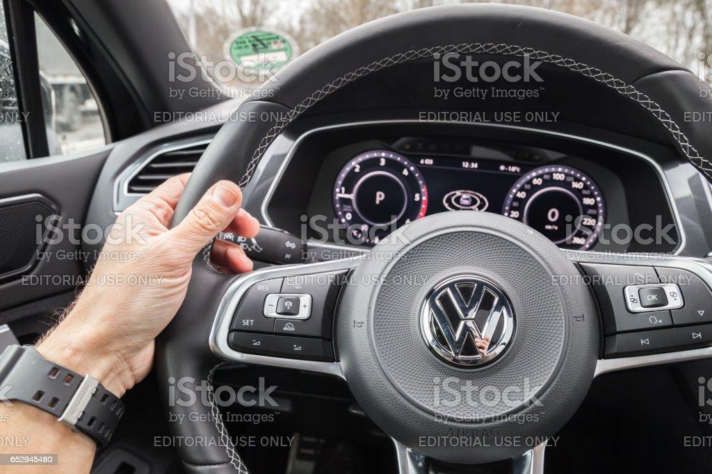 Volkswagen Tiguan 2017 steering wheel stock photo
