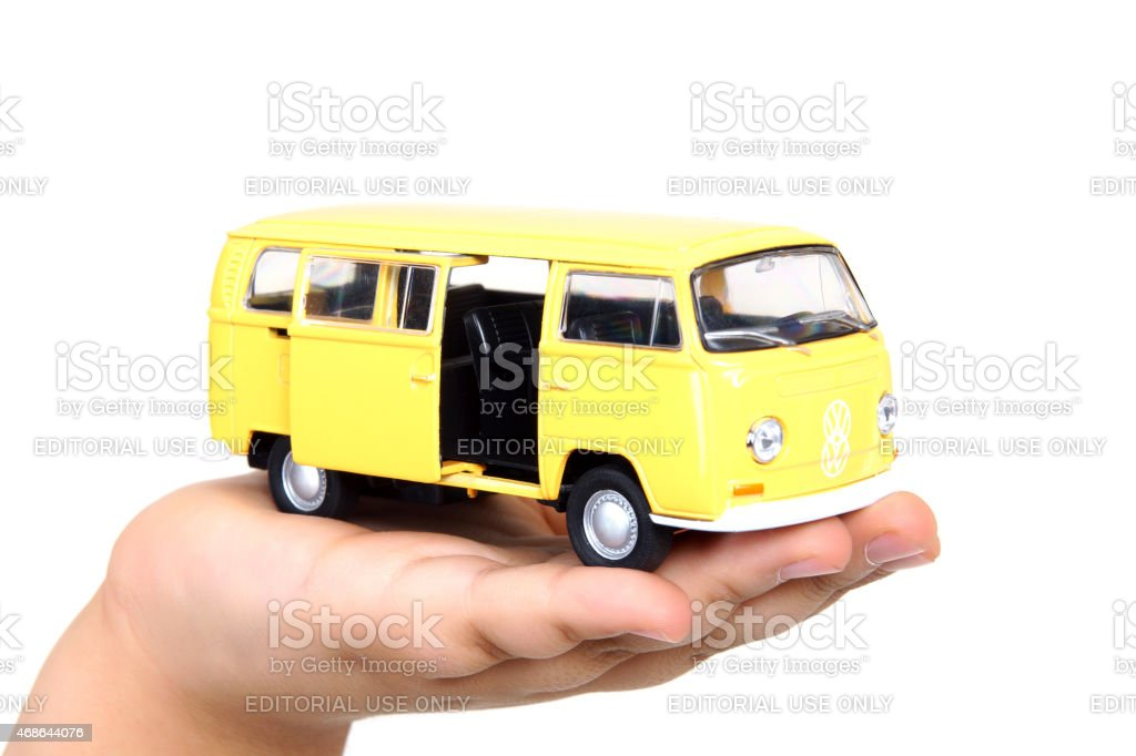Volkswagen toy minibus stock photo