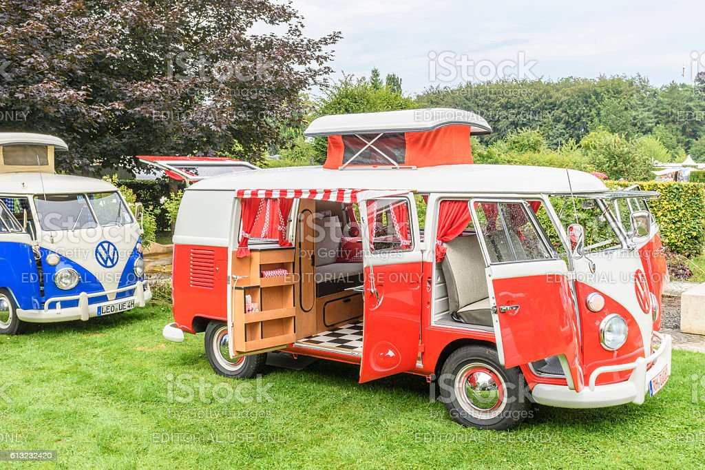 Volkswagen Transporter T1 Camper Van in a park stock photo