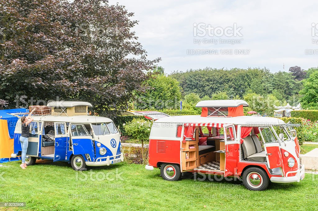 Volkswagen Transporter T1 Camper Vans in a park stock photo