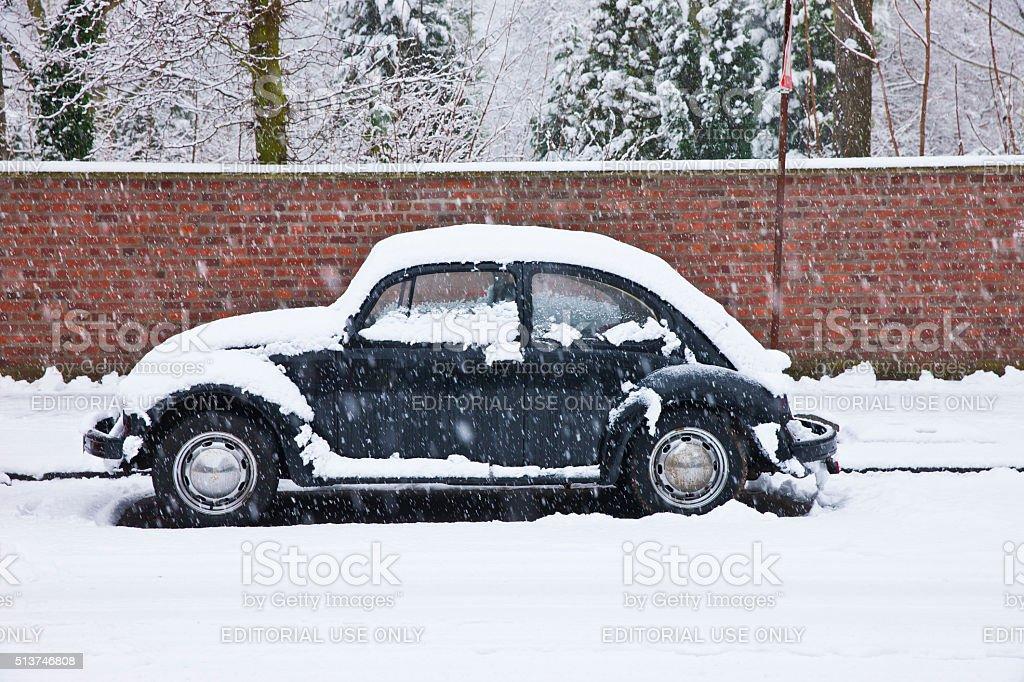 Volkswagen VW Käfer in the snow stock photo