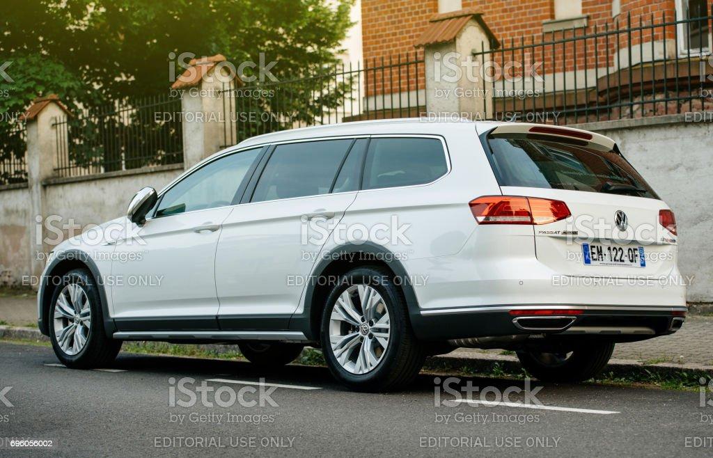 Volkswagen VW passat Alltrack car parked in city stock photo