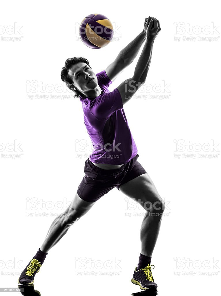 volley ball player man silhouette white background stock photo