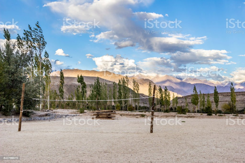 volley ball sports ground in Tibet stock photo