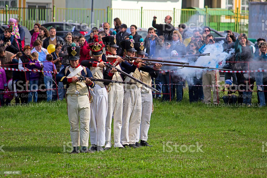 Volley of French infantry royalty-free stock photo