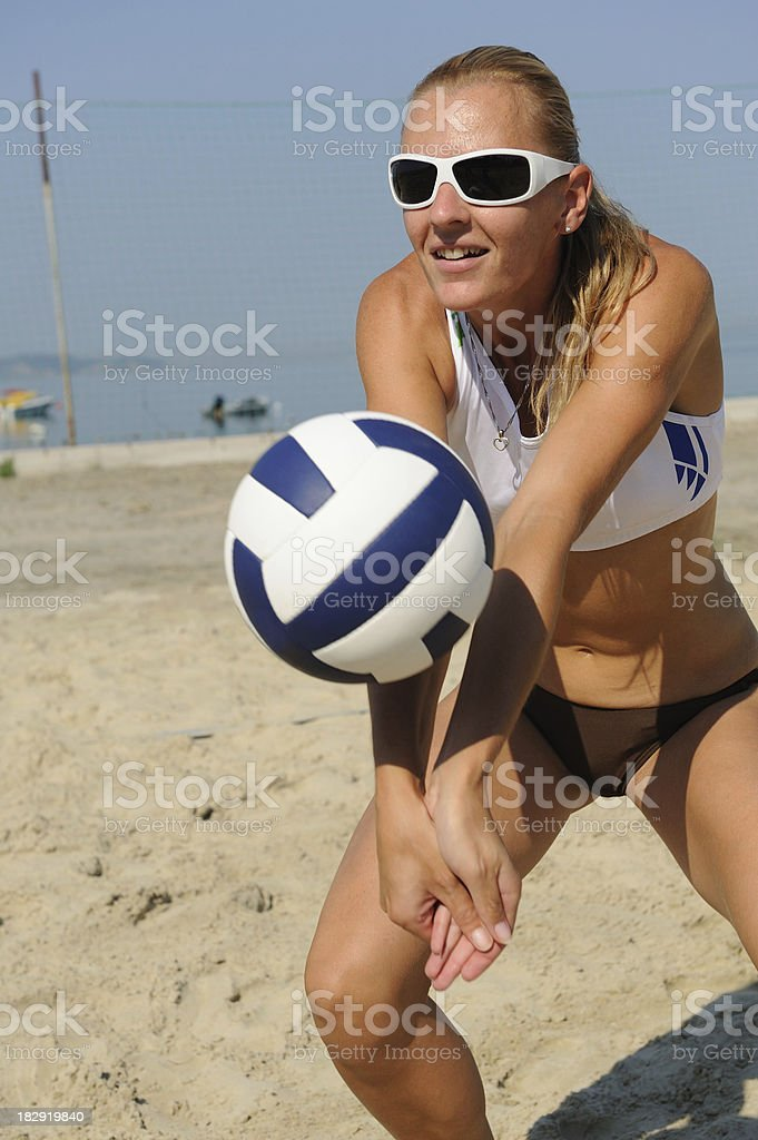 Volleybal player defending royalty-free stock photo