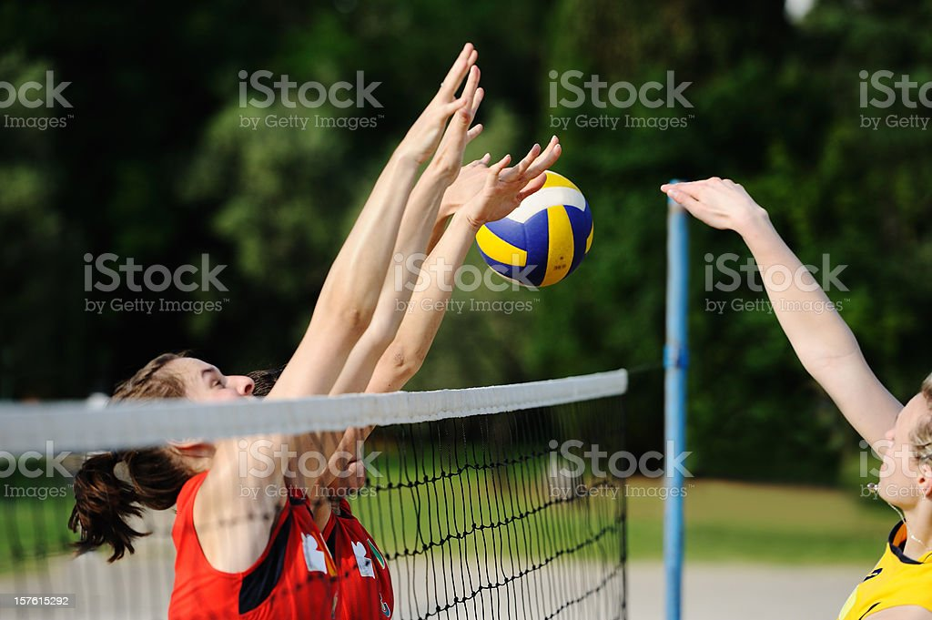 Volleyball action on the net royalty-free stock photo