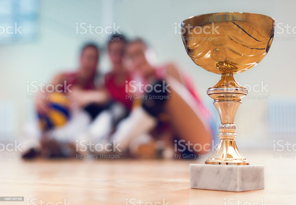Volleyball champion trophy with volleyball players in background. stock photo