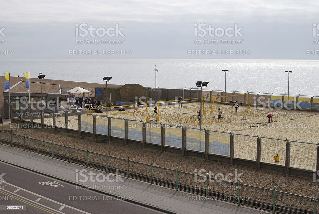 Volleyball court on Brighton Seafront. England royalty-free stock photo