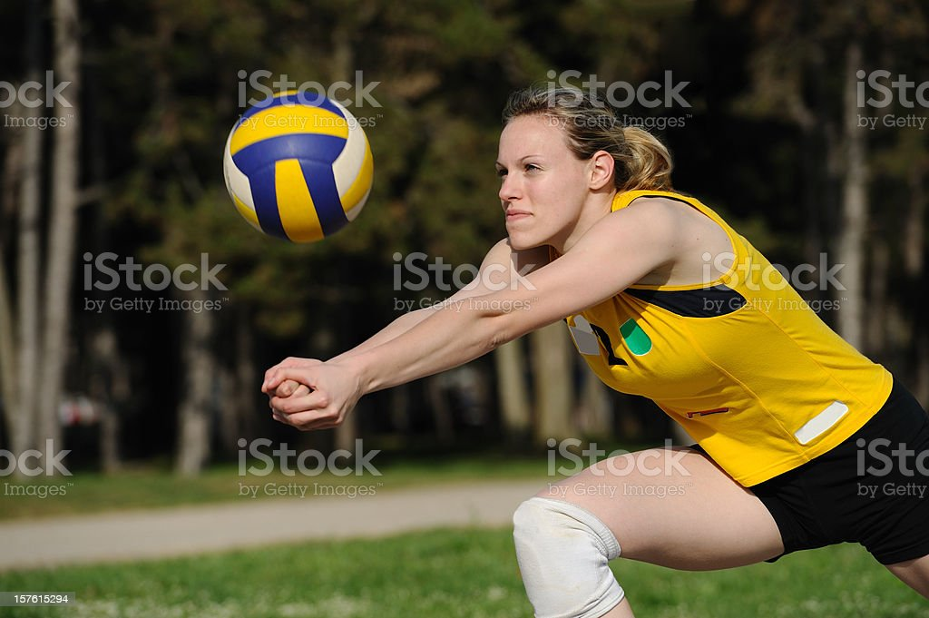 Volleyball defensive action royalty-free stock photo