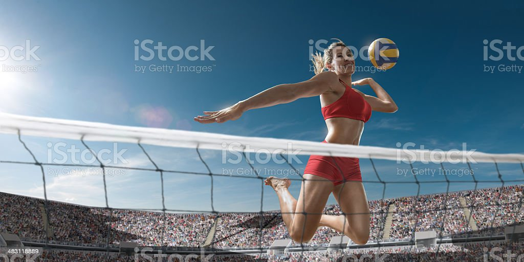 Volleyball Girl About To Score stock photo