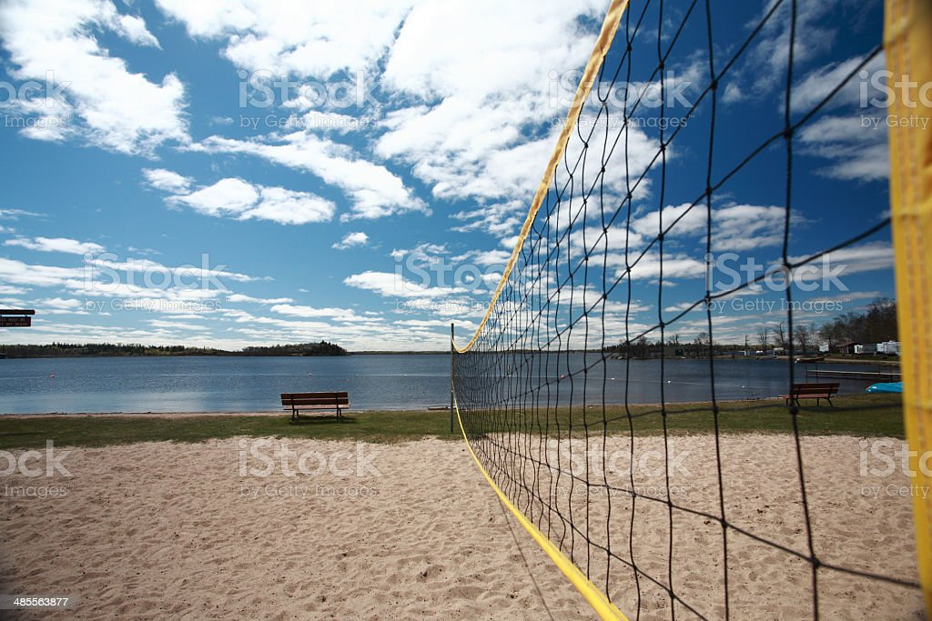 Volleyball net at Grand Beach in Manitoba stock photo
