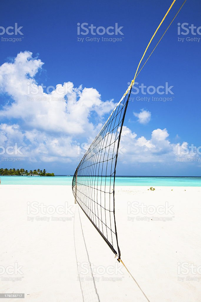 volleyball net at the beach royalty-free stock photo