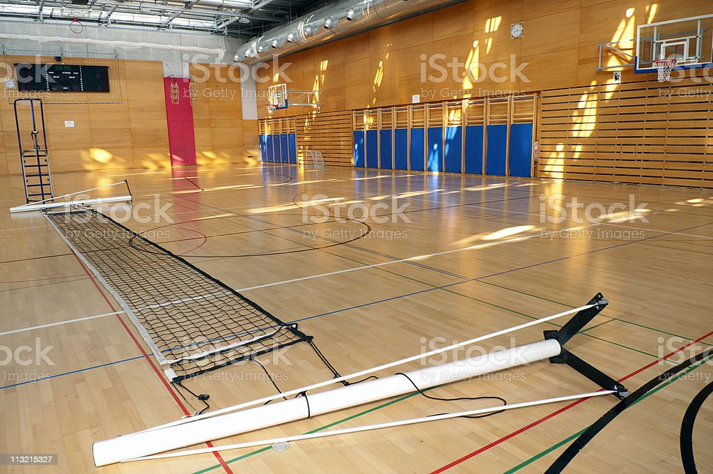 Volleyball Net on Parquet in Sports Hall royalty-free stock photo