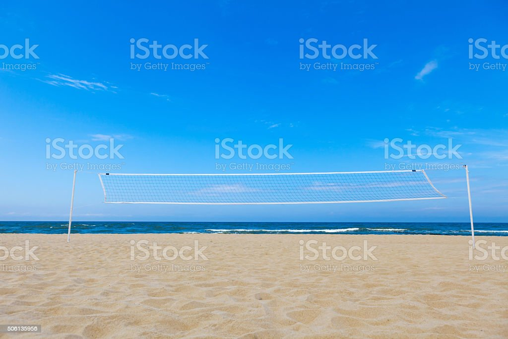 volleyball net on the beach. stock photo