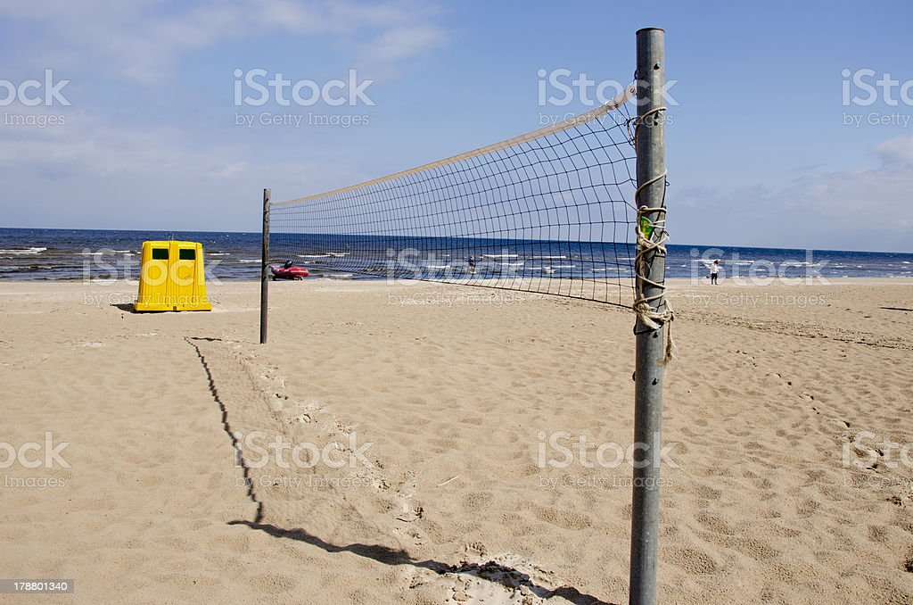 volleyball nets on the empty resort beach royalty-free stock photo