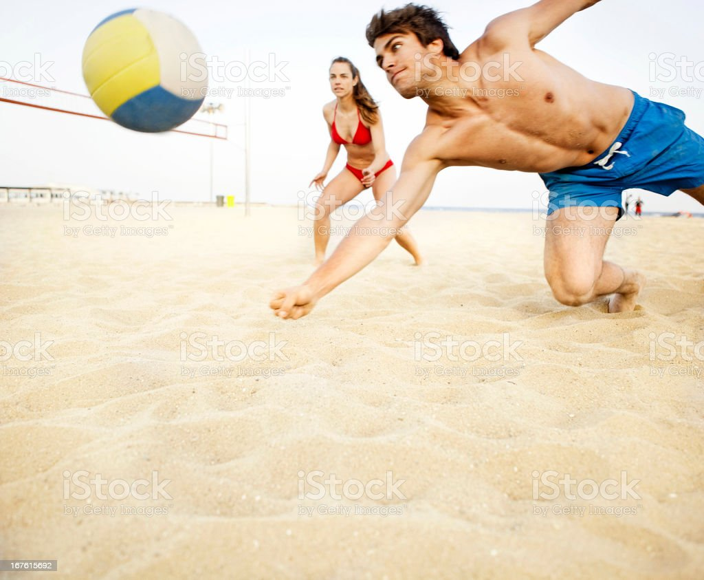 Volleyball on beach royalty-free stock photo