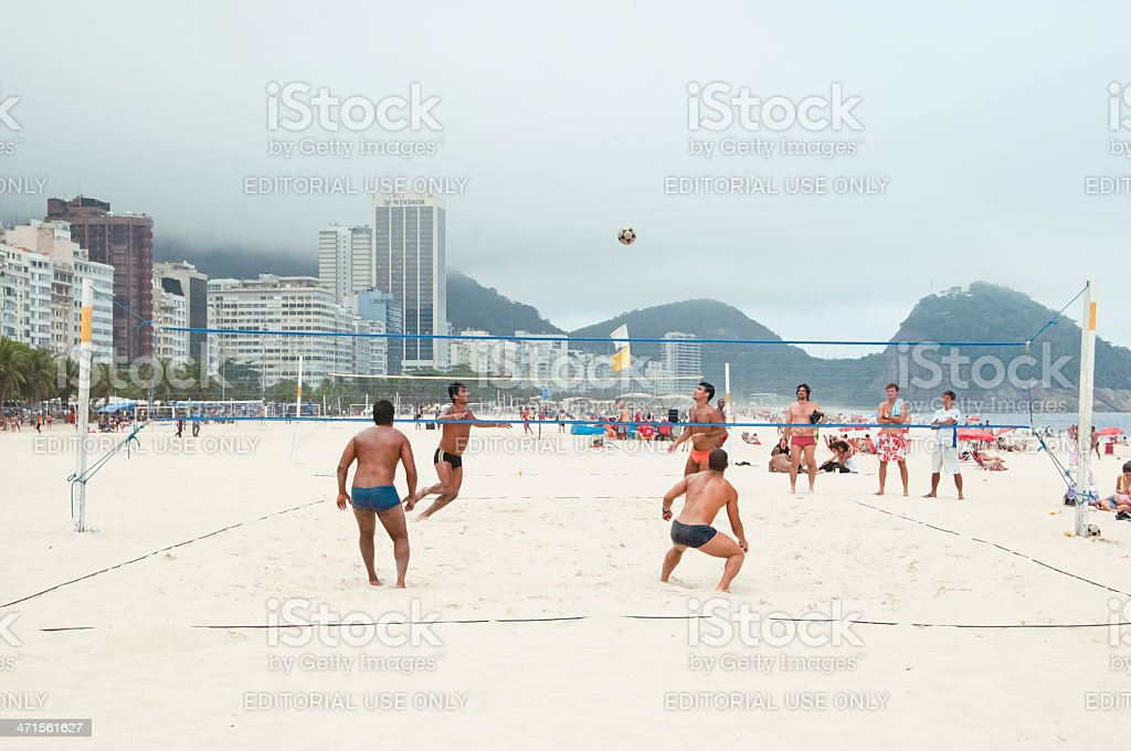 Volleyball On Copacabana Beach, Rio de Janeiro, Brazil, South America. royalty-free stock photo