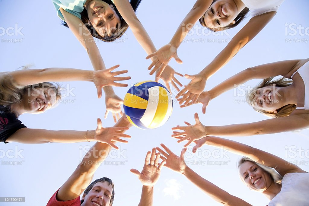 volleyball on the beach stock photo