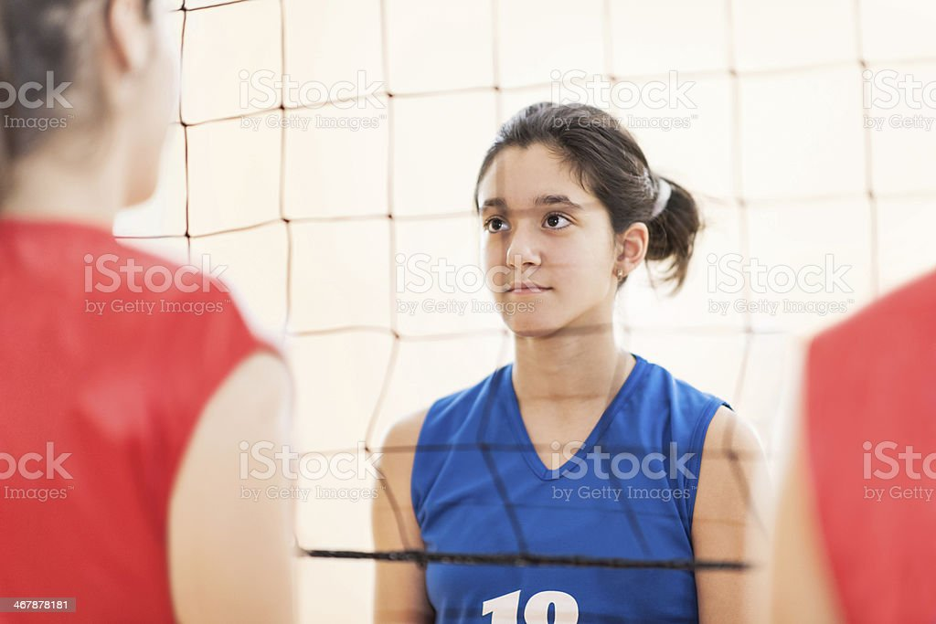 Volleyball opponents. stock photo