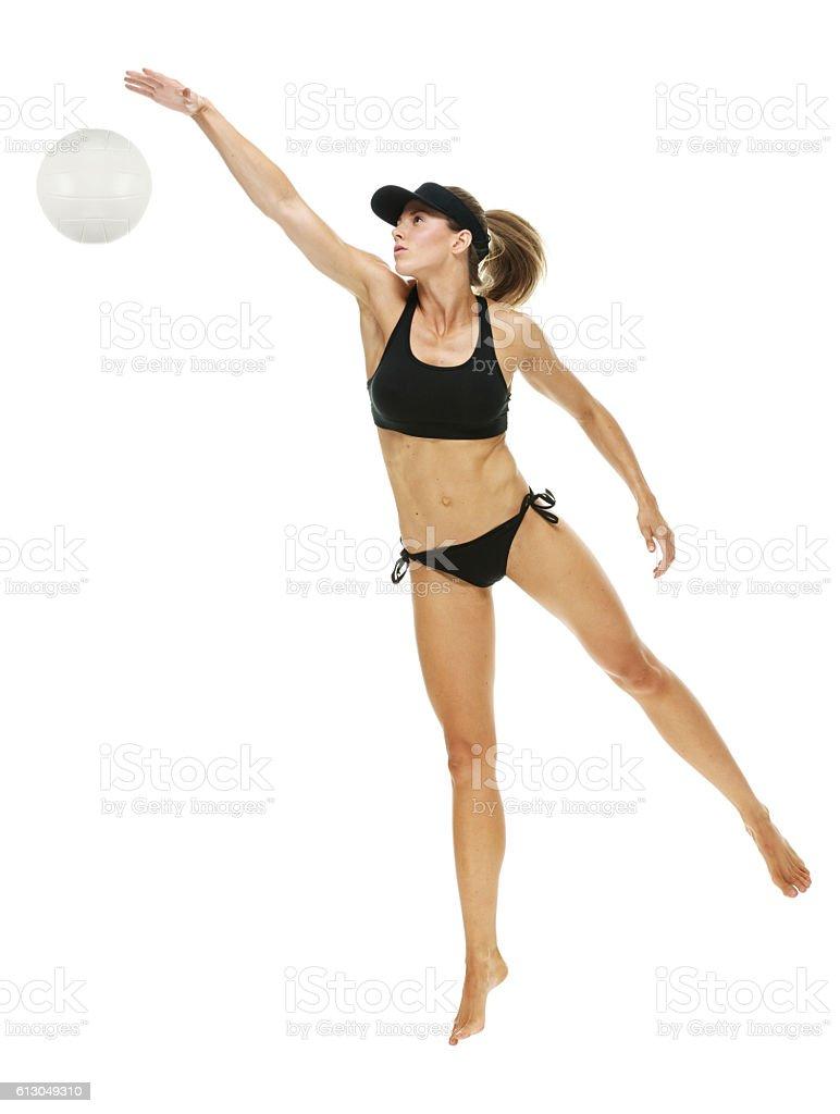 Volleyball player blocking stock photo
