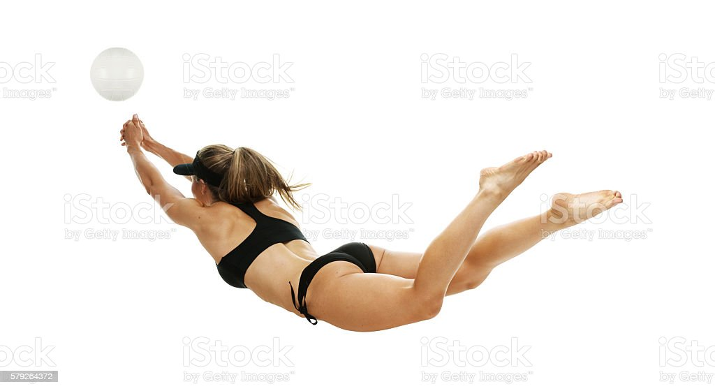 Volleyball player diving stock photo