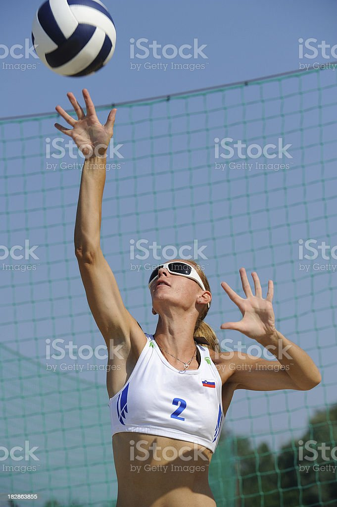 Volleyball player in the action royalty-free stock photo