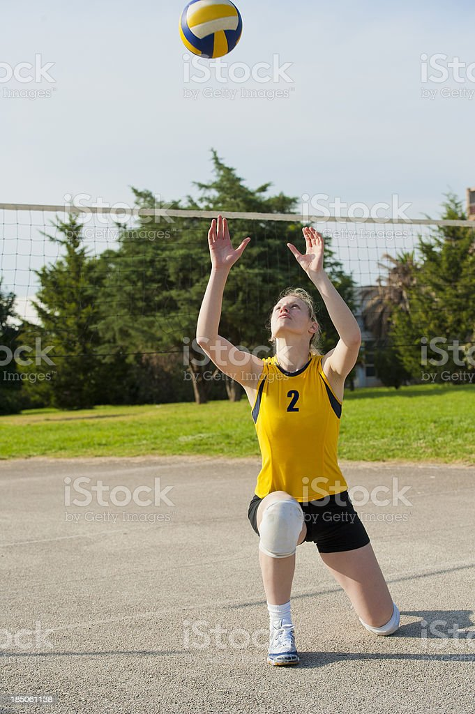 Volleyball player passing the ball royalty-free stock photo