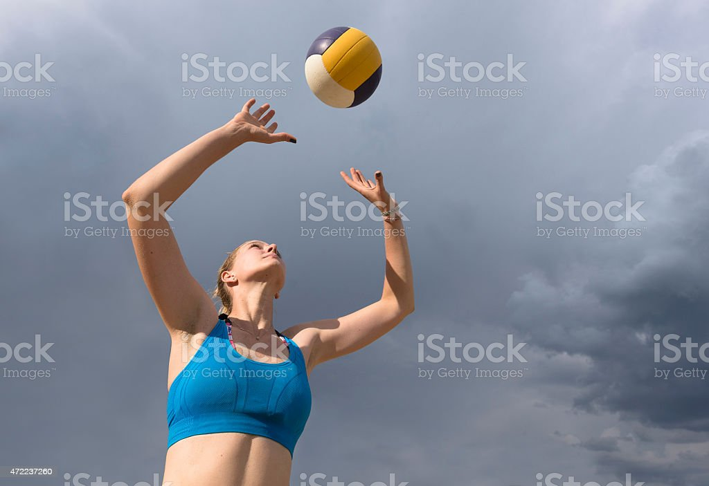 Volleyball Player Passing the Ball stock photo