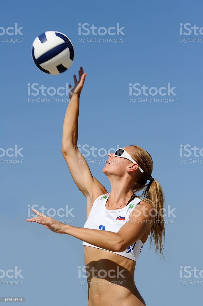 Volleyball player serving royalty-free stock photo