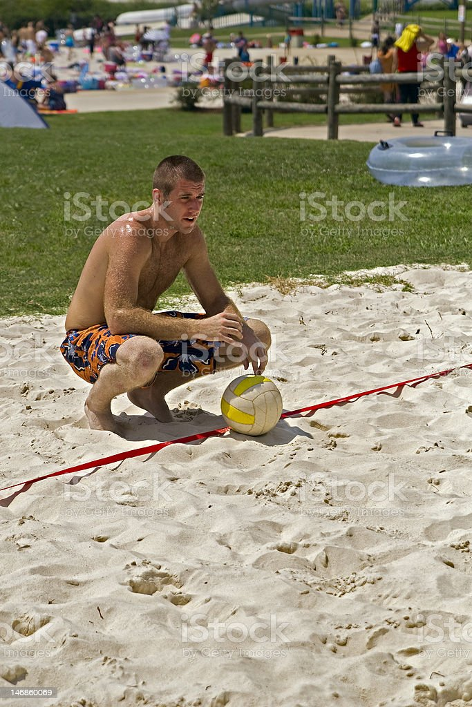 Volleyball player thinking hard. stock photo