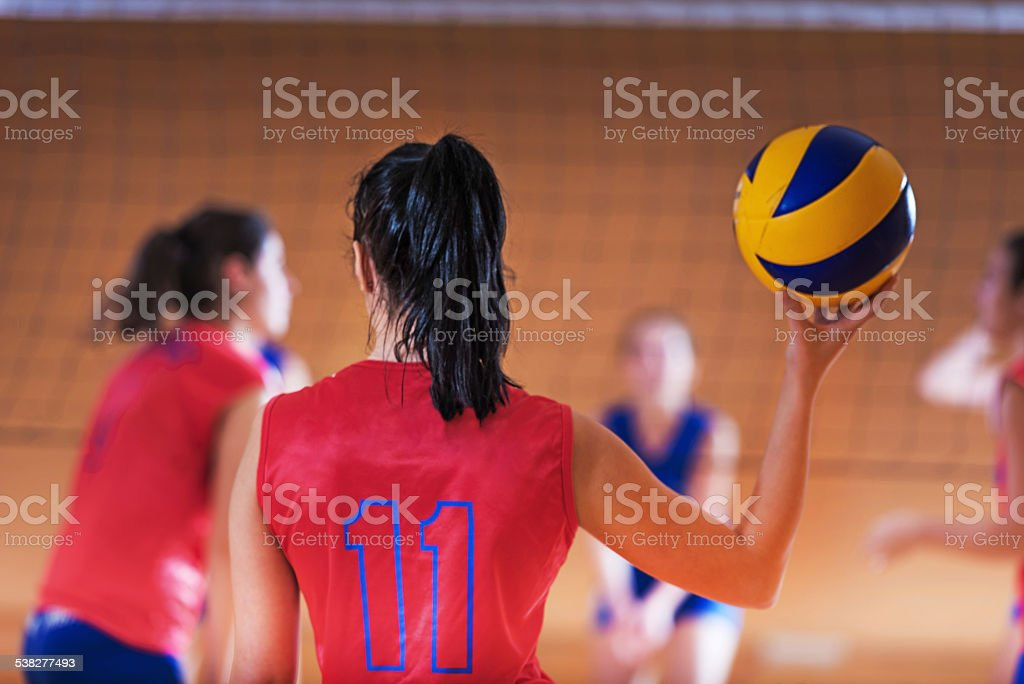 Volleyball player with a ball. stock photo