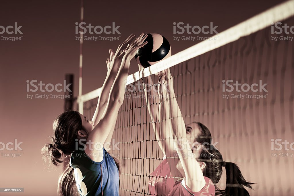 Volleyball players in action. stock photo
