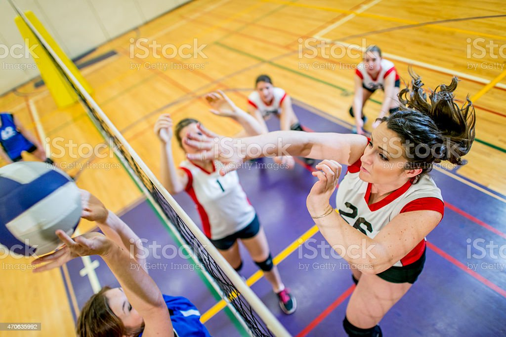 Volleyball Spike Action Shot stock photo