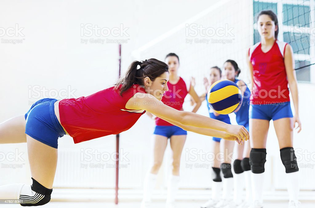 Volleyball team in action. royalty-free stock photo