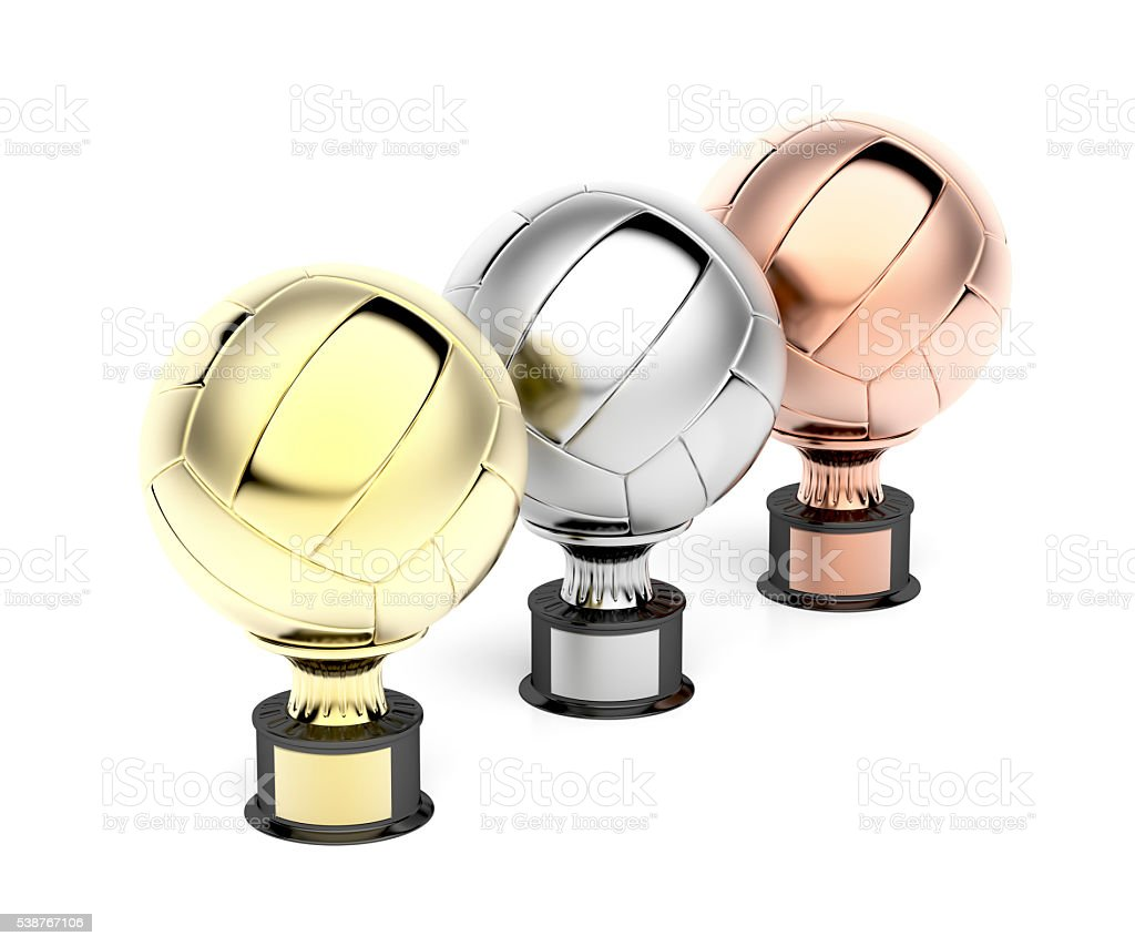 Volleyball trophies on white stock photo