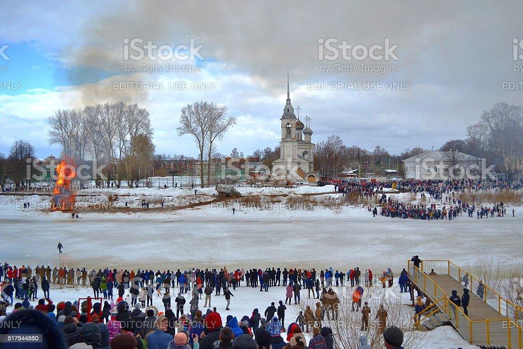 Vologda, Russia, celebration, tradition, people, Mardi Gras,  city, burned. stock photo
