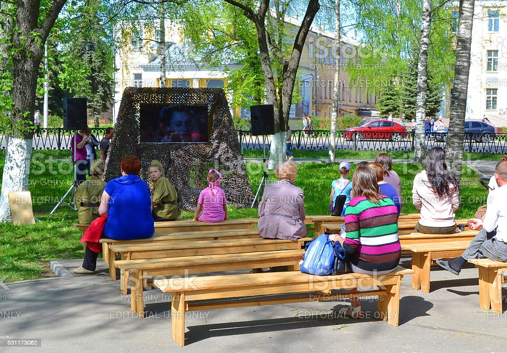 Vologda, Russia, people, park, cinema, Victory Day, stock photo