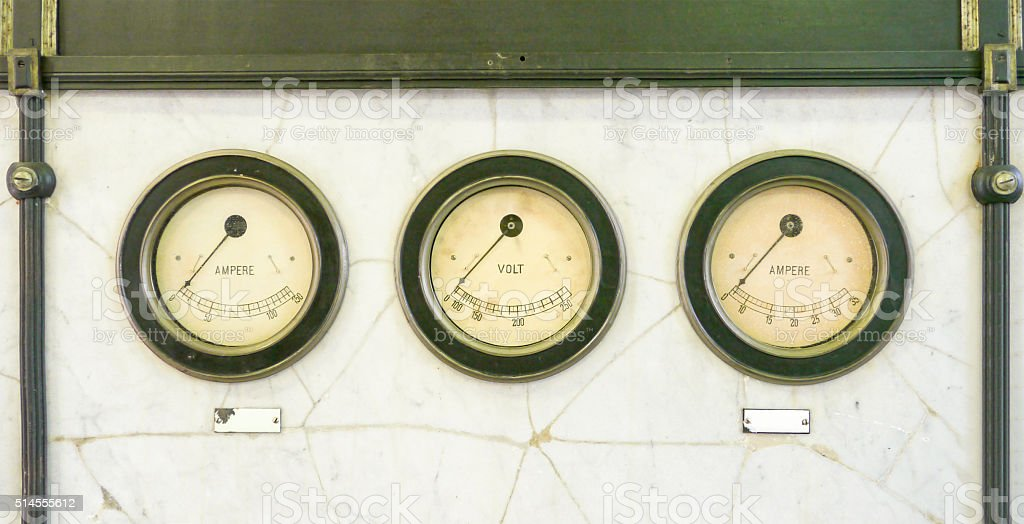 Volt and ampere meter on marble plate stock photo