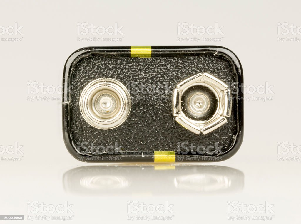9 Volt Battery Close Up stock photo